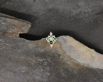 Silver chip emeralds and tourmaline