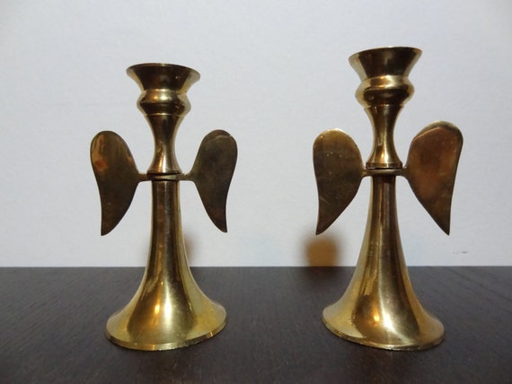 Vintage Brass Angel Candle Holders for by DaysLongGoneSalvage