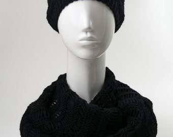 BIG SALE, Knit Hat and Scarf Set, Chunky Knit Set, Black Hat, Black Scarf, Womens Winter Accessories, Womens Cable Knitted Cowl and Hat Set