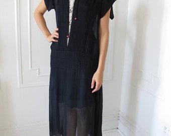 Silk Chiffon 1920's Drop-waist Navy Dress with Slip