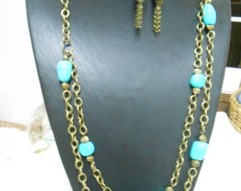 Turquoise and Gold Polymer Clay Necklace