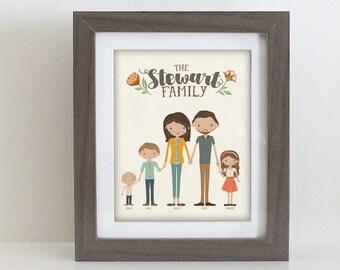 Custom Illustrated Family Portrait Customizable Print or Printable Illustration Housewarming Gift 8x10 11x14