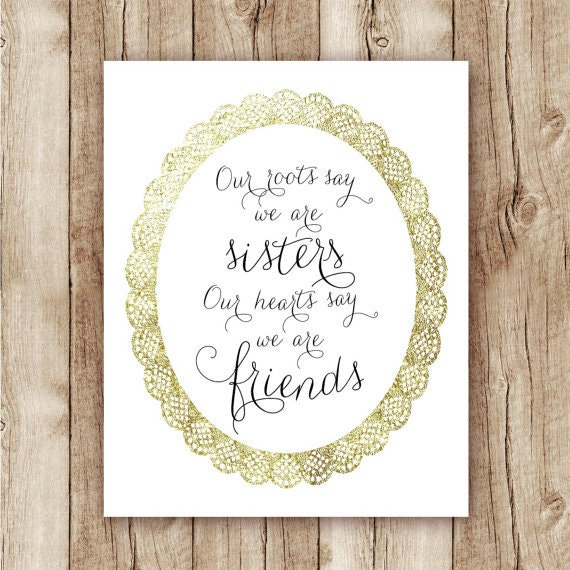 Wall Art Quotes For Sisters : Sister quote printable wall art gold foil print