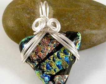 Wire Wrapped Dichroic Glass Pendant Necklace Black Blue