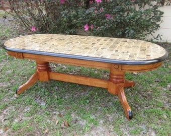 Decoupage coffee table with antique paper, wooden coffee table vintage coffee table living room furniture refinished coffee table solid wood