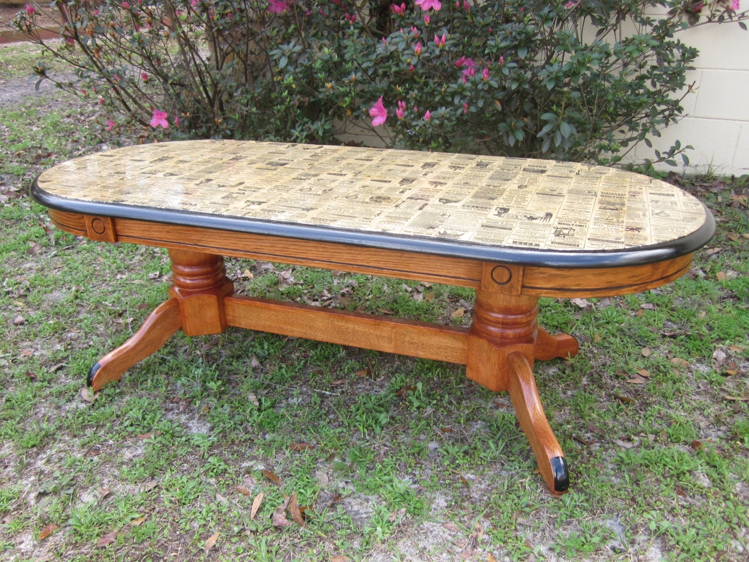 Decoupage Coffee Table With Antique Paper Wooden Coffee Table