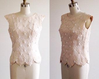 Beaded blouse- Beige blouse- Blush top- Scalloped blouse- 1950s blouse- 50s shirt- Small/ Medium