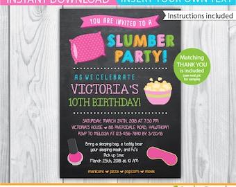 slumber party invitation / girls slumber party invitations / sleepover invitation / spa sleepover invitation / girl sleepover invitation