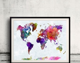 World map in watercolor painting abstract splatters - SKU 0400