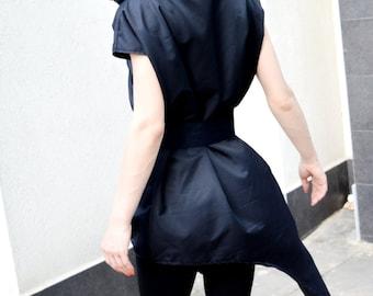 Asymmetric Black Shirt/ Extravagant Hooded Top/ Stage Top/ Performance Clothing/ Short Sleeve Shirt/ Zipper Top/ Futuristic Shirt ZM007