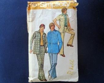 1973 Mens Leisure Suit, Shirt Jacket & Pants Vintage Pattern, Simplicity 5710, Chest Size 36