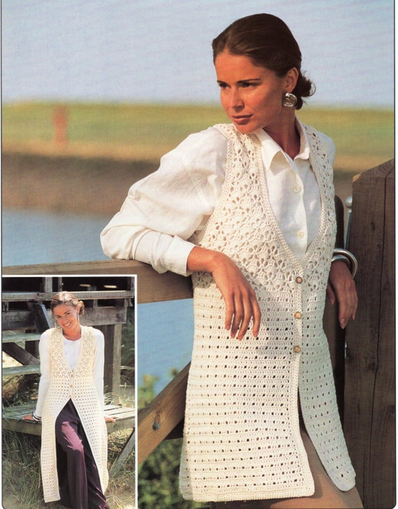 Knitting Patterns Ladies Waistcoats : Ladies CROCHET PATTERN Ladies Crochet Waistcoats Long or Midi