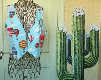 Handmade Vintage Hot Air Balloon Vest - 1990's - Size Small