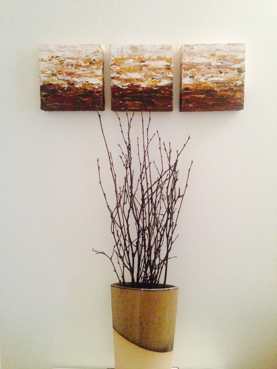 3 Pieces Wall Decor For Living Room: Three Piece Wall Art White Gold Brown Rust By