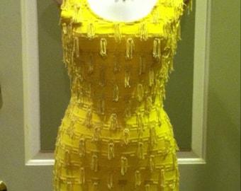 Vintage 80's Modet Of California Yellow Fringe Bodycon Short Wiggle Party Dress