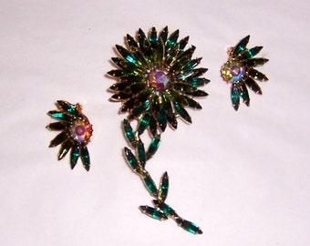 Multi-Colored Green Flower Brooch with Matching Earrings