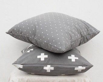Set of 2pc, Plus sign pillow cover, Swiss cross pillow Case, Gray Cross Pillow Case
