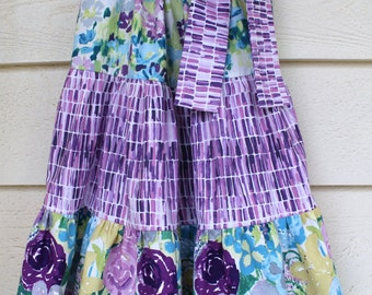 Size 2T - Purple, Lavendar and Blue Floral Tiered Pillowcase Dress - Ready to Ship