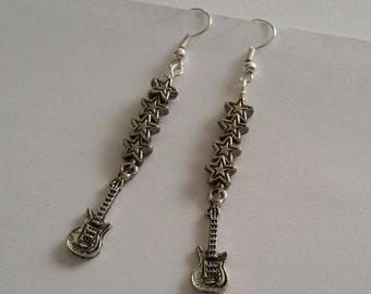 Rock Star Earrings, Guitar Earrings, Rock Star Dangle Earrings, Guitar Hook Earrings, Rock n Roll Jewelry, Gift for Music Lover