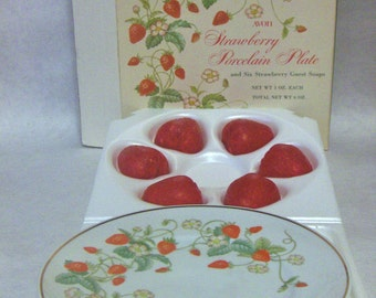 VINTAGE - 1978 Avon, Strawberry Porcelain Plate with 6 Strawberry Guest Soaps