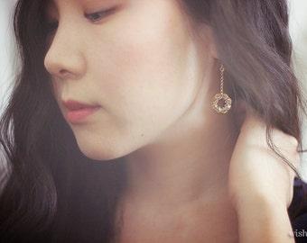 LONG DANGLE earrings / gold drop earrings / swarovski crystal earrings / handmade jewelry / wishpiece