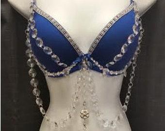 Handmade Blue Crystal Bra!