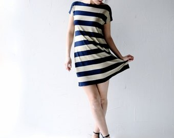 Striped dress, Tunic dress, Jersey tunic, Navy blue, Ecru, Boat neck dress, Tshirt dress, Womens dress, Womens clothing, Aline dress,