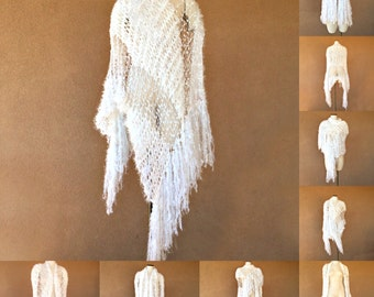 White Stevie Nicks Cape Wedding Wrap Same Style as Contest Winner Shawl that I Designed for Stevie Cape Stevie Bridal Shawl White, Silver