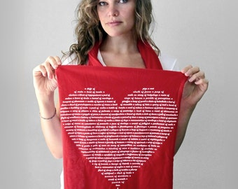 Animal Lover Heart Womens Scarf, Valentines day gift for her, red scarf, gray scarf, gift for women, funny valentine, wife gift, cozy scarf