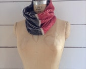 The Union Menswear Cowl in Natural/Ruby/Black