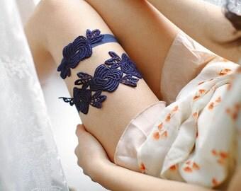Wedding garter navy, something blue wedding garter, bridal garter set - style #508