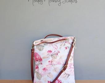 Pink Shabby Rose Tote, Custom Leather Strap, Vintage Style Tote Bag, Cottage Chic Handbag, Womens Pink Floral Bag, Floral Shoulder Bag, USA