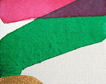 """Gold Leaf Abstract Painting, 5x5"""" Abstract Art, pink, gold, green, emerald, fuchsia, """"Colorblock II"""", small modern acrylic painting"""