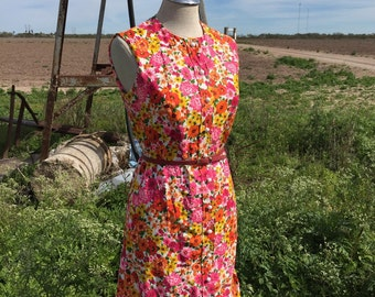 1970s Floral Shift Dress - Casual Day Dress - Liberty Circle- Vintage Shift - Pink Neon Green Orange Yellow - Colorful - Ruffle - 36 Bust