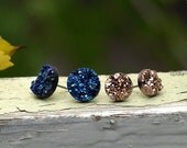 Midnight Moonlight Glitter Studs, Faux Druzy Stud Earrings, Two Pair Set of Resin Druzy Glitter Posts