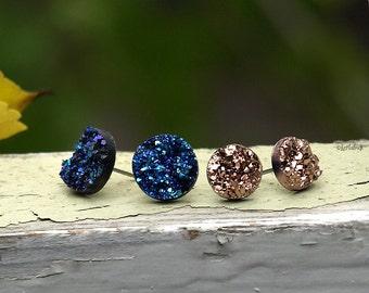 Midnight Moonlight Glitter Studs, Faux Druzy Stud Earrings, Two Pair Set of Resin Druzy Glitter Posts