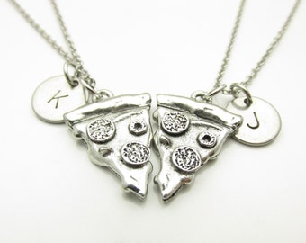 Pizza Necklace, Pizza Charm Necklace, Two Pizza Slices, Pair, His and Hers, Couple or Best Friend Necklace, Personalized, Silver Pizza Y100