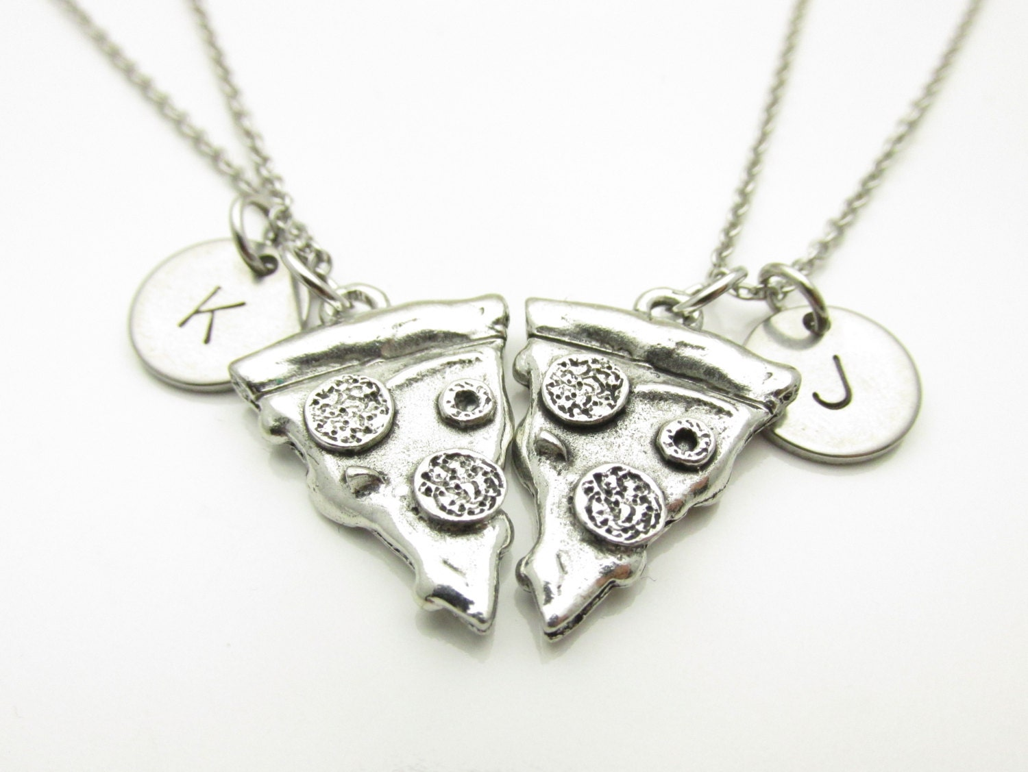 pizza necklace pizza charm necklace two pizza slices pair