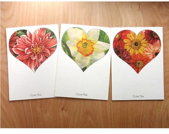 heart and flower greeting card set, Valentines Day cards, I love you flower stationery