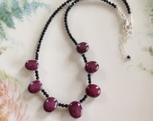 All Natural Extraordinary Star Ruby and Black Spinel Necklace One of a Kind