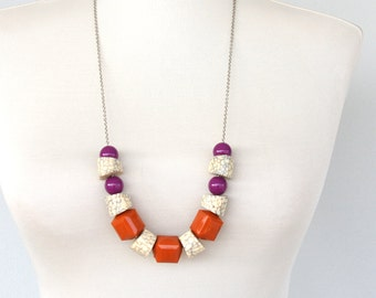 Chunky necklace chunky bead necklace terracotta jewelry cracked bead bone necklace geometric necklace purple necklace boho jewelry statement