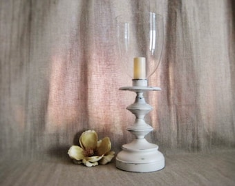 Large Shabby Candle Holder with Beautiful Glass Hurricane Shade / Painted Metal Candle Holder with Glass Shade for Wedding or Home Decor