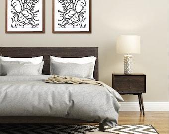 Abstract Flowers Art Print - Charcoal Dark Grey and White - Set of 2 - Modern Flower Art - Modern Home Decor - Flower Poster