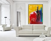 Large 44x60 ORIGINAL ABSTRACT Yellow Red Blue Purple, Big Colorful Modern Art Abstract Expressionism Painting by Eiffel, Designer Wall Art