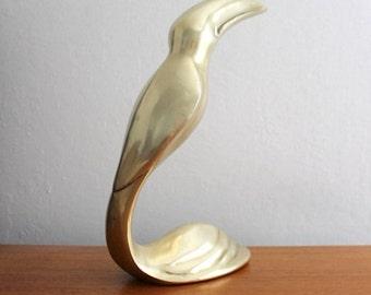 vintage brass toucan bird, modern brass bird, free shipping