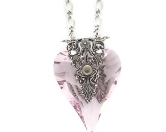 Pink Swarovski Crystal Heart of Love Necklace in Pink and Antiqued Silver plated Brass Filigree by Dr Brassy Steampunk