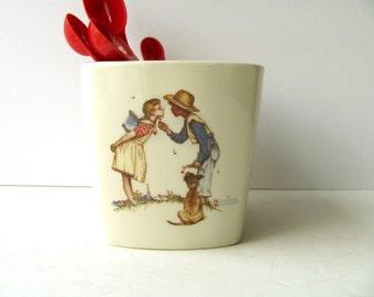 Vintage Norman Rockwell Planter Vase Organizer Jar Flowers Kisses Boy Girl Dog Friends Friendship Series Spoon Holder Saturday Evening Post