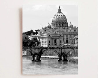 Rome Italy Photography - St. Peters Cathedral Photo Black and White Photography Italian Architecture Roman Bridge Rome Print Office