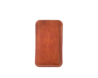iPhone 4 or 5, Saddle Tan Grizzly Cowhide Sleeve Case, iPhone 5S