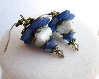 Dark Blue Flower & Speckled Grey Czech Glass Boho Chic Earrings